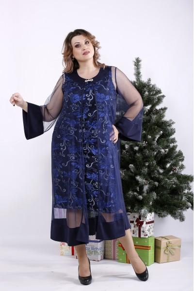 Фото Нарядное синее платье | 01340-2