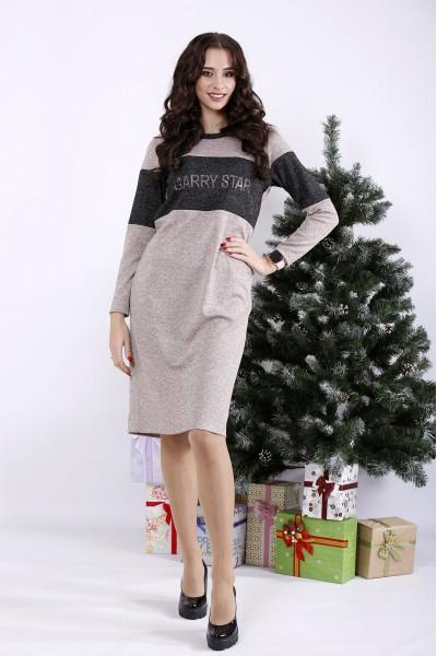 Фото Бежева сукня з ангори | 01343-2