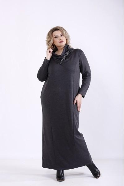 Фото Темно-сіра сукня максі | 01345-3