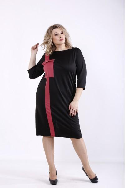 Фото Чорна сукня з вставкою фрезия | 01346-1
