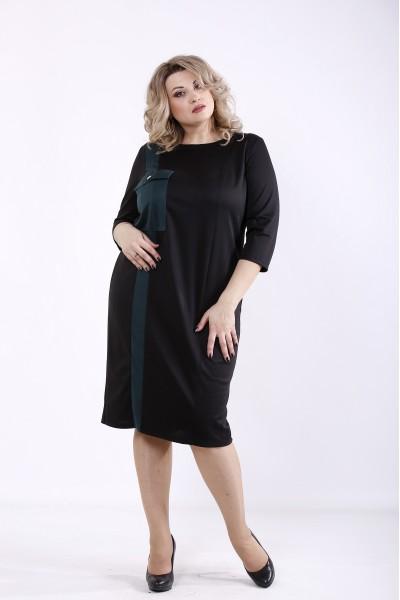 Фото Чорна сукня з темно-зеленою вставкою | 01346-2
