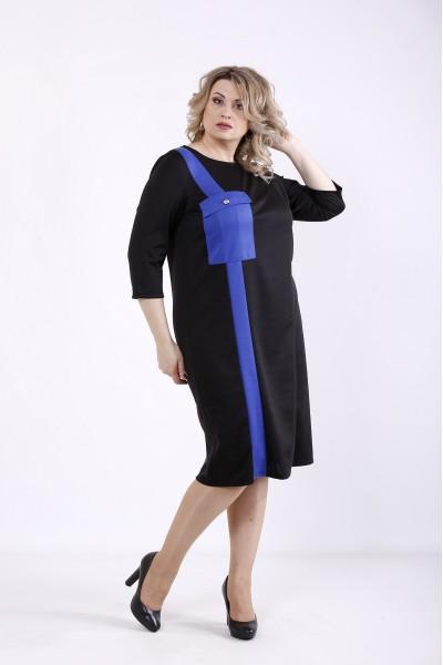 Фото Черное платье с синей вставкой | 01346-3