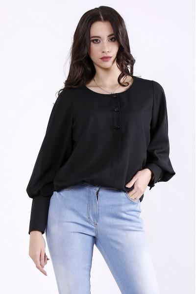 Фото Чорна стильна блузка | 01350-1