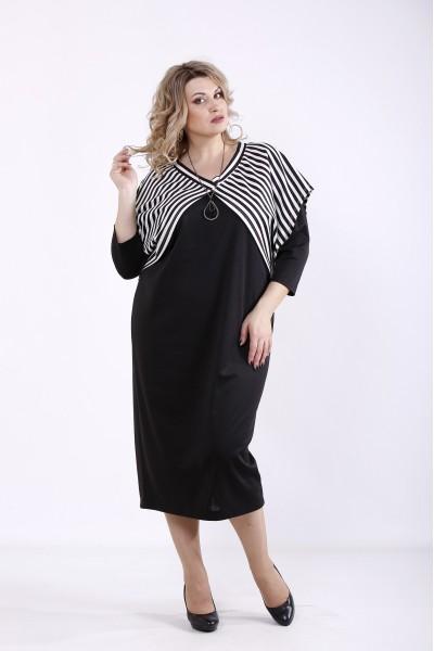 Фото Комплект: Чорне трикотажне плаття з накидкою | 01351-1