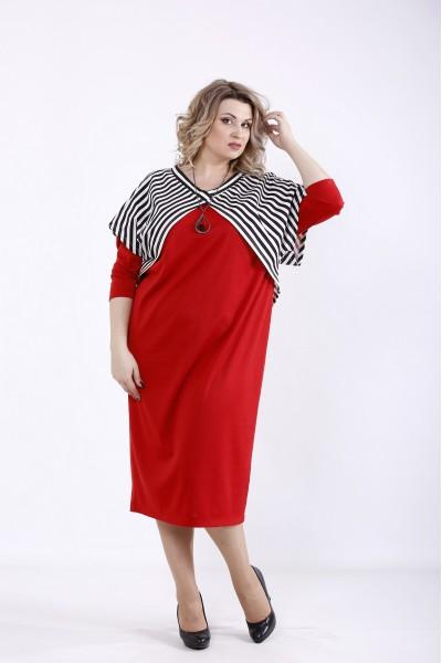 Фото Комплект: Алое плаття з накидкою | 01351-2