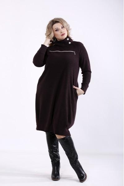 Фото Шоколадне приховуюче плаття з коміром | 01353-3