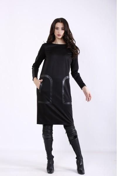 Фото Черное прямое платье | 01354-1