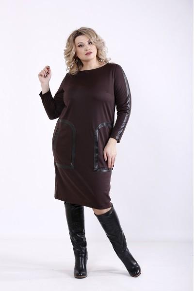 Фото Шоколадне плаття з кишенями | 01354-2