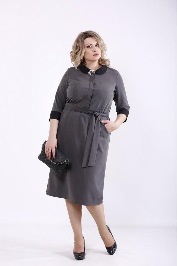 Фото Серое платье из николь с поясом | 01357-1