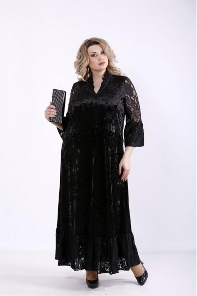 Фото Чорна велюрова сукня максі | 01359-1