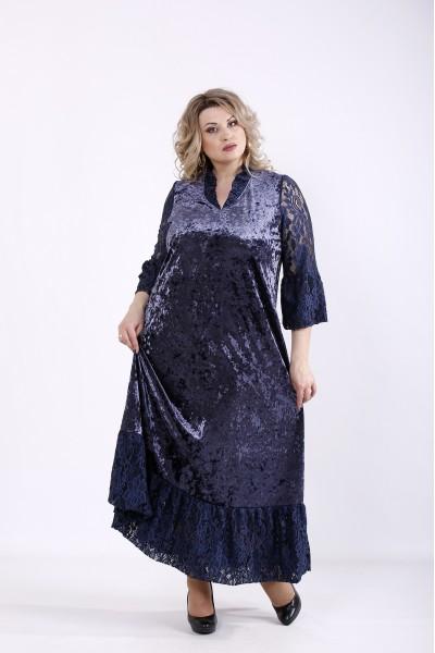 Фото Синя довга велюрова сукня | 01359-2