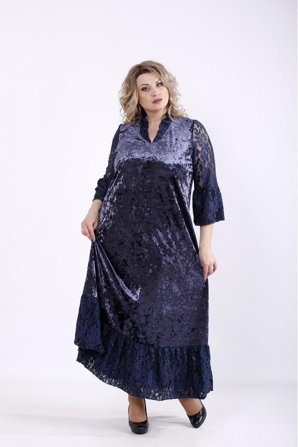 Купить Синее длинное велюровое платье | 01359-2  ♥ Гарри Шоп