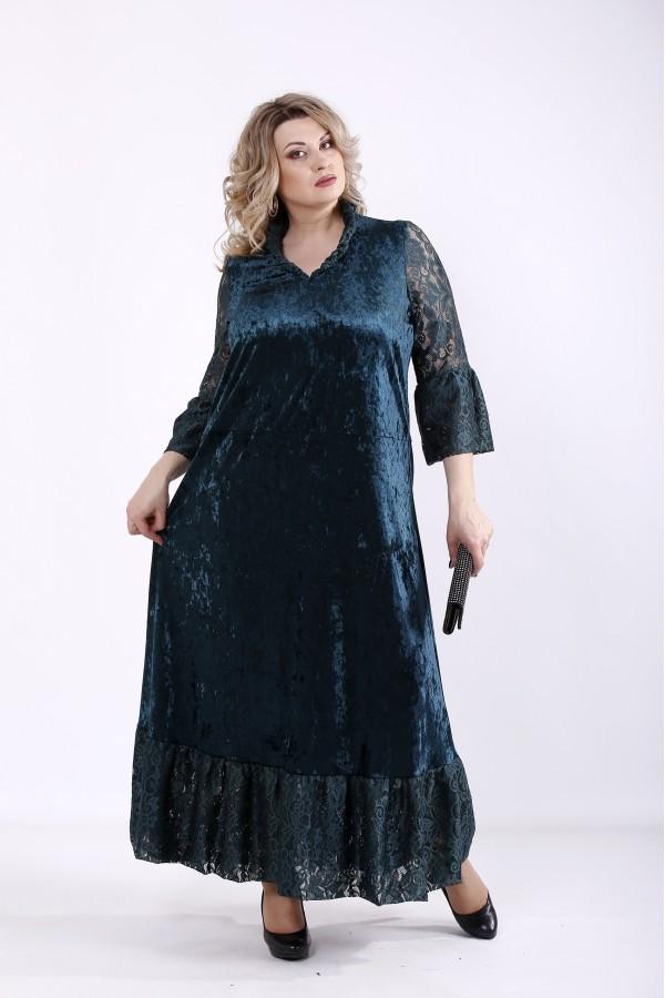 Фото Зеленое длинное платье из велюра | 01359-3