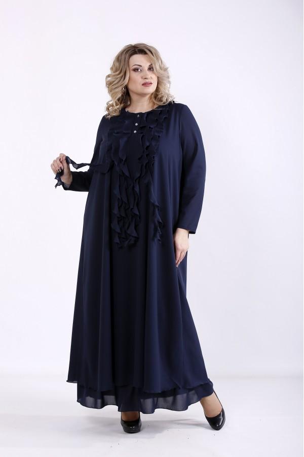 Фото Синее свободное платье | 01360-2