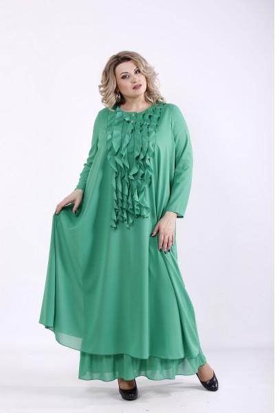 Фото Зеленое платье в пол | 01360-3