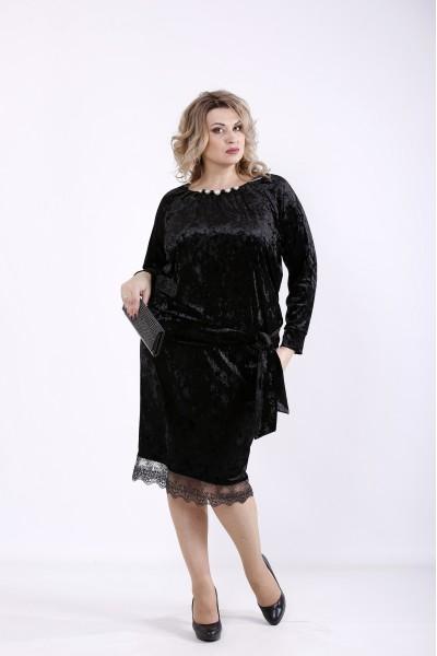 Фото Черное велюровое платье | 01364-1