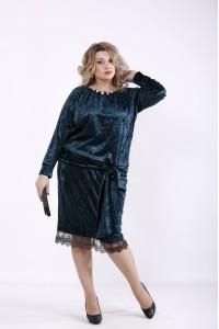 Фото Зеленое велюровое платье   01364-2