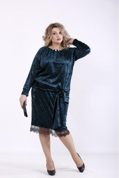 Фото Зелена велюрова сукня | 01364-2