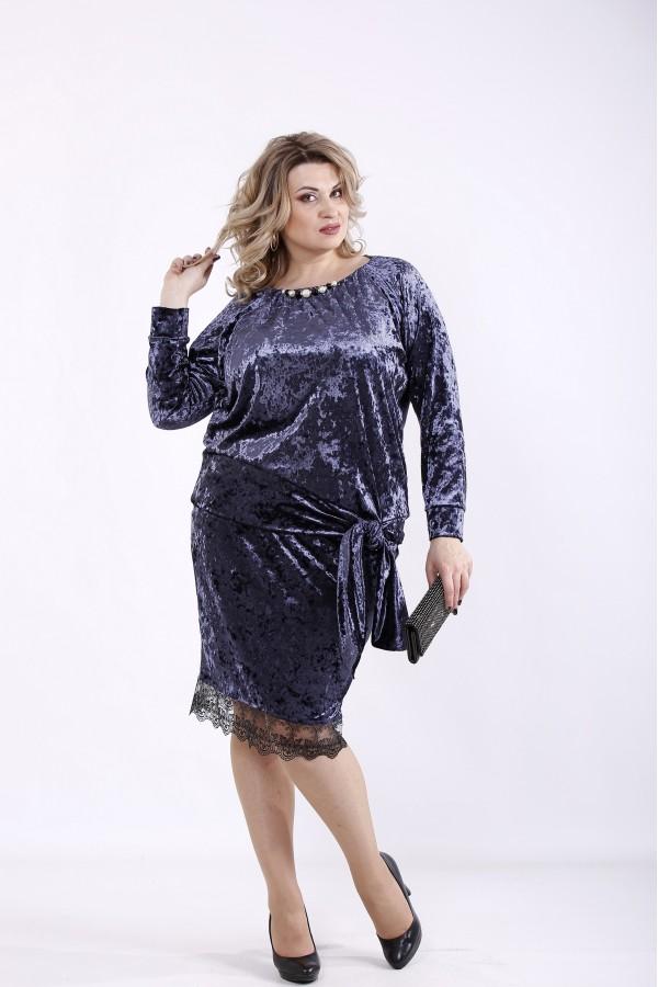 Фото Велюровое платье антрацит | 01364-3