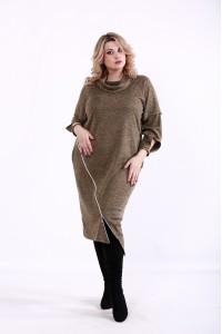 Горчичное платье с длинным рукавом | 01368-3