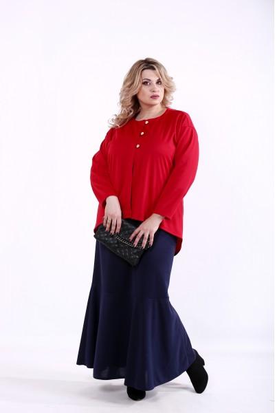 Фото Комплект: синее платье и алый жакет   01373-2