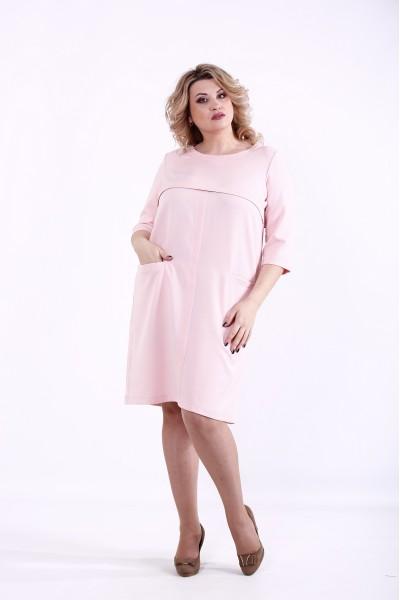 Фото Пудровое платье из костюмки   01375-3