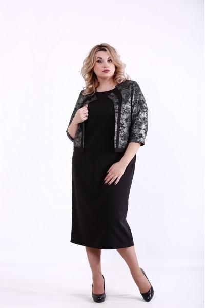 Фото Черный костюм: платье и жакет   01377-3