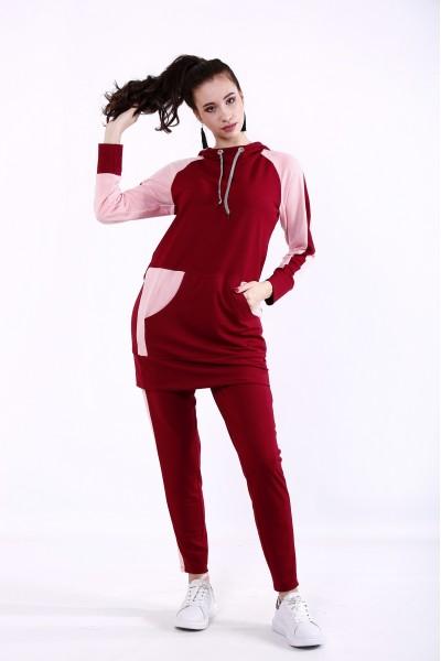 Фото Бордовий спортивний костюм | 01380-1