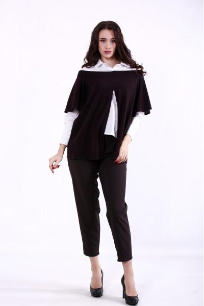 Фото Шоколадный костюм: блузка и брюки   01381-1