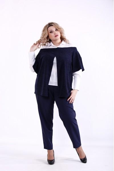 Фото Синий костюм: блузка и брюки | 01381-2