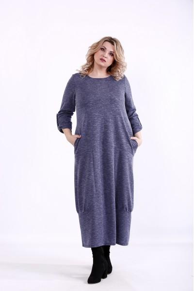 Фото Синее свободное платье | 01384-1
