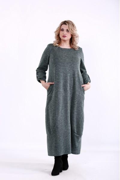 Фото Зелене вільне плаття   01384-2