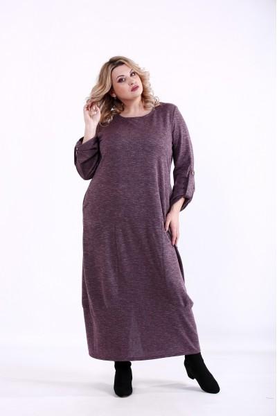 Фото Скрывающее платье цвета баклажан | 01384-3