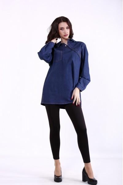 Фото Темно-синяя джинсовая рубашка | j01385-1
