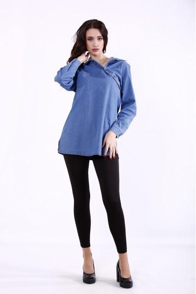 Фото Светло-синяя джинсовая рубашка | j01385-2