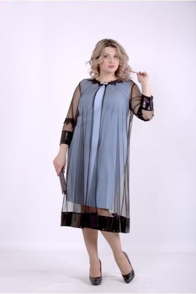 Фото Голубое платье с сеткой | 01387-1