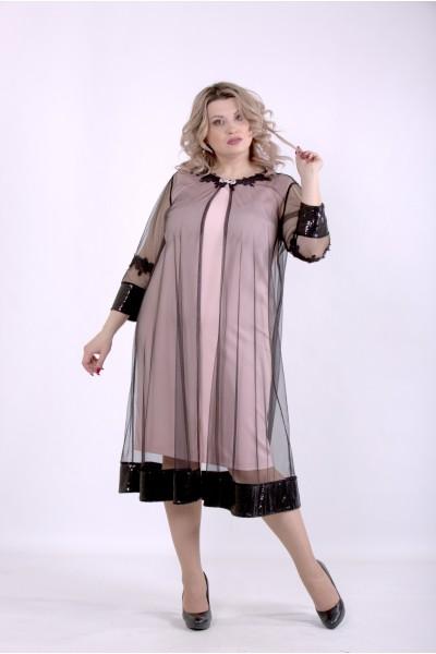 Фото Пудровое платье с сеткой | 01387-2