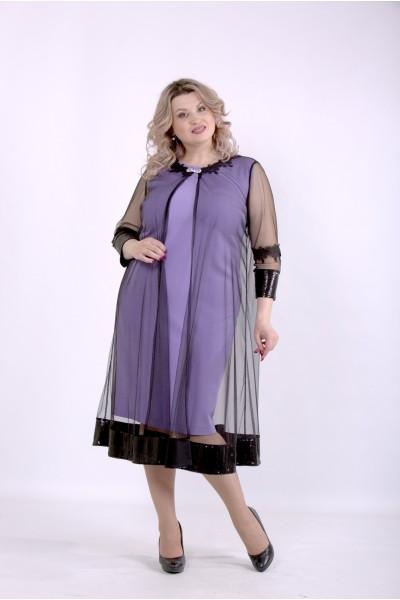 Фото Сиреневое платье с сеткой | 01387-3