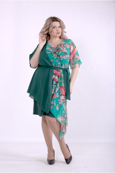 Фото Зеленое асимметричное платье | 01388-2