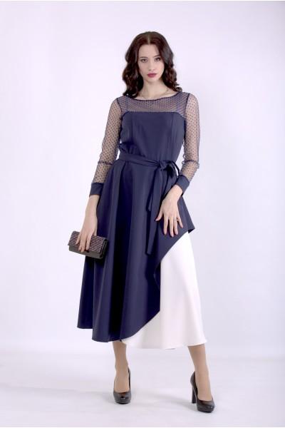 Фото Синее нарядное платье с поясом | 01389-1