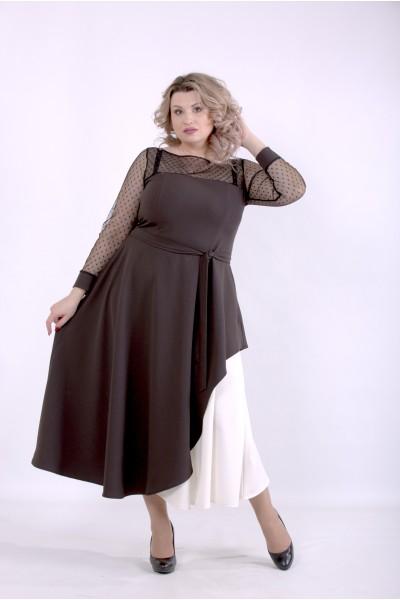 Фото Шоколадное платье с поясом | 01389-3