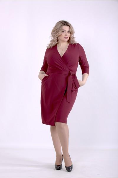Фото Бордовое однотонное платье | 01390-2