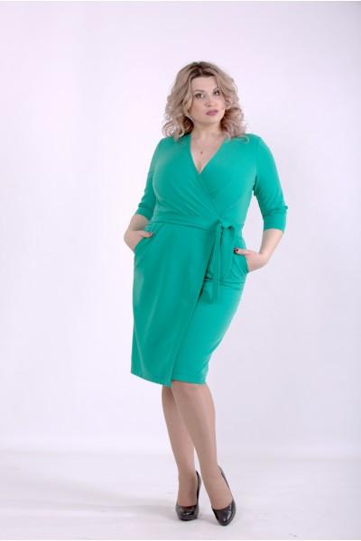 Фото Зеленое однотонное платье | 01390-3