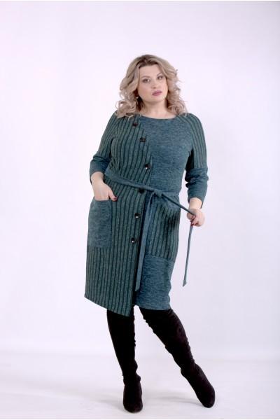 Фото Зеленое платье с поясом | 01394-2