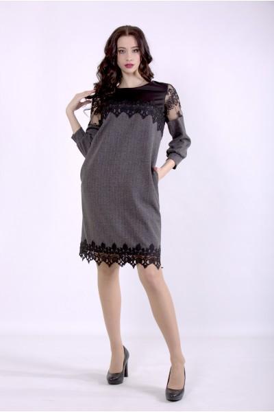 Фото Светло-серое платье с вышивкой на сетке | 01395-1