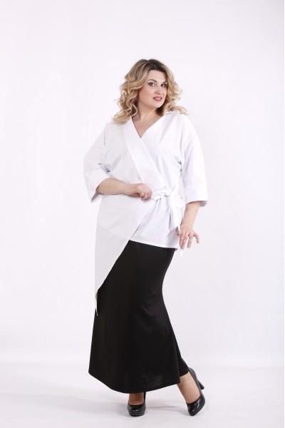 Фото Біла довга блузка | 01416-1