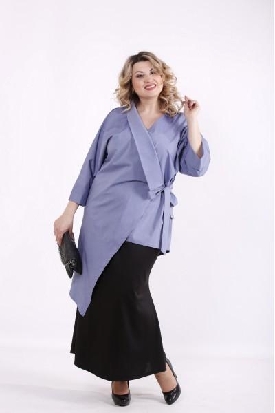 Фото Блакитна асиметрична блузка | 01416-3