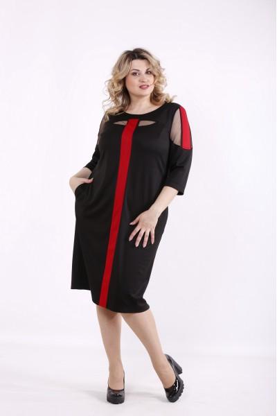 Фото Черное с алым платье | 01418-1