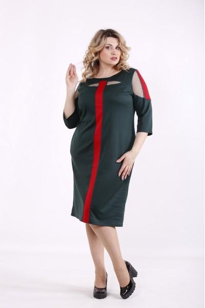 Фото Зеленое с красным платье | 01418-3