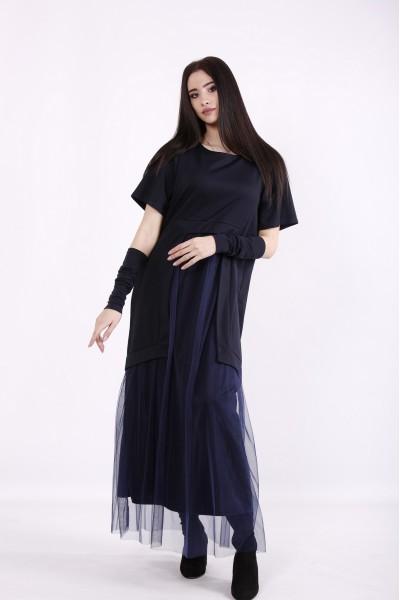 Фото Темно-синее платье в пол | 01426-1